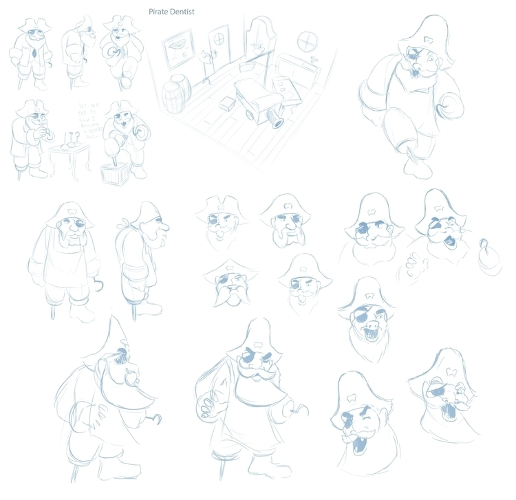 Pirate Dentist Early Sketches - characterdesign - bagam | ello
