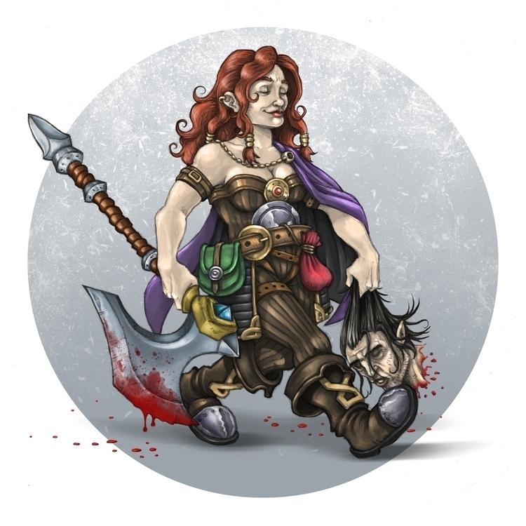 Painting test - dwarf, female, warrior - lexsingleton | ello
