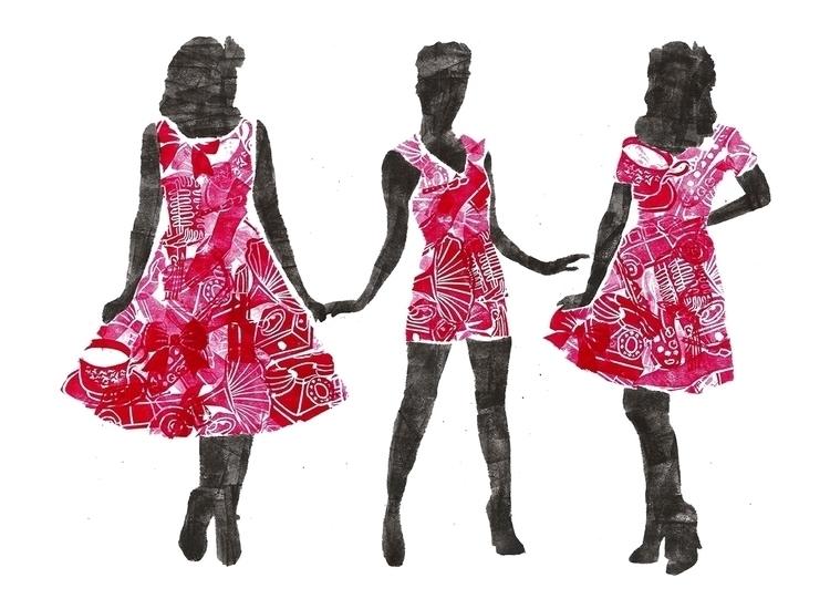 Vintage Ladies, Favourite - linocut - abigail-1757 | ello