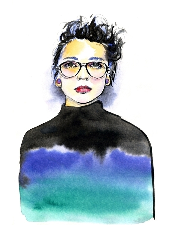 illustration, watercolor, woman - mistakeann | ello