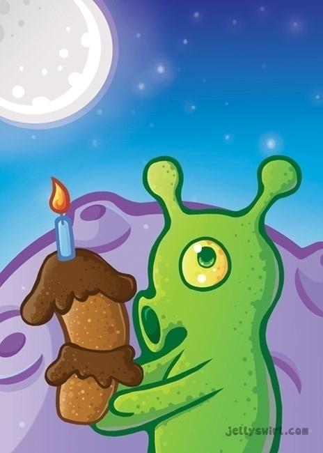 alien birthday - illustration, moon - jellysoupstudios | ello