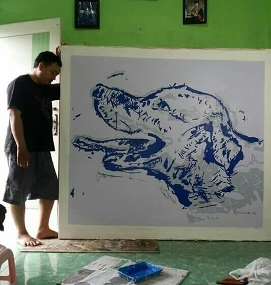 Blue Dog - painting, visualart, pelukisindonesia - raswan-5176 | ello