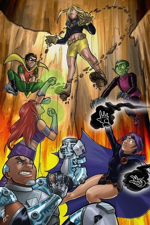 Teen Titans - illustration, comic - candaceaprillee | ello