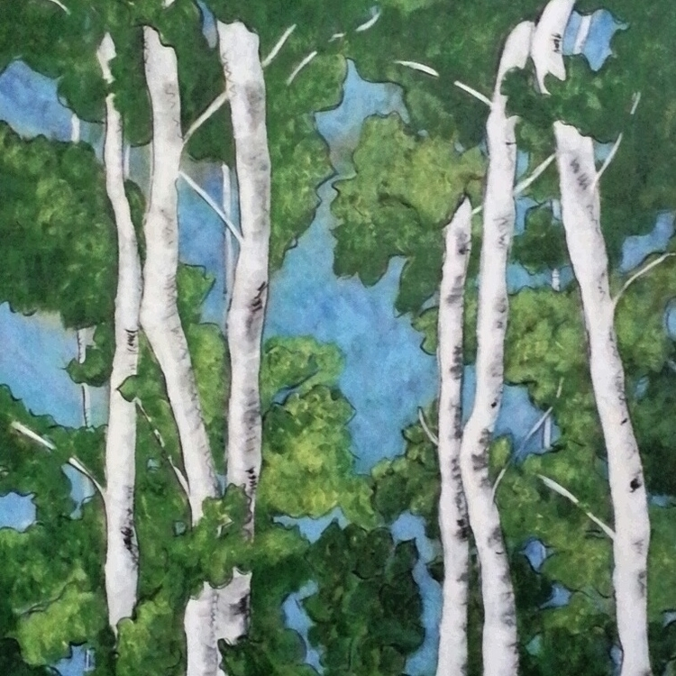 Birch - painting, birchtrees, nature - michele-1314 | ello