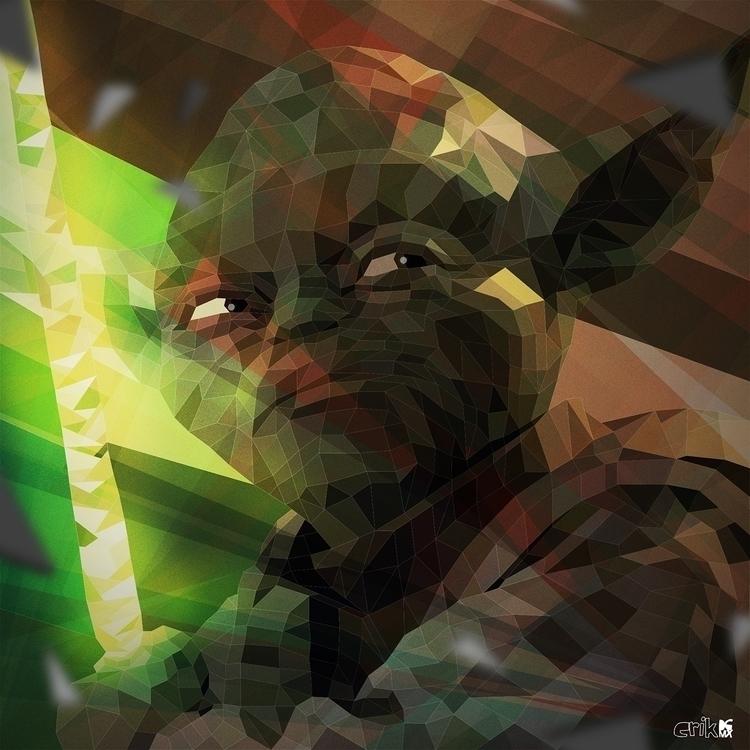 Master Yoda - illustration, lowpoly - erikdgmx | ello