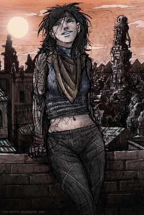 roof - girl, cyborg, women, ontheroof - joebecci | ello
