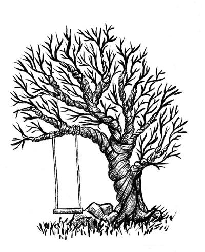 vignette, ink, penink, tree, twistedtree - kaytiespellz | ello