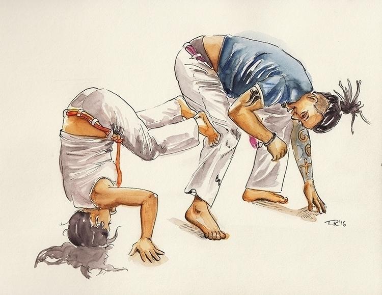 playing capoeira trainer - watercolor - dannyknebel | ello