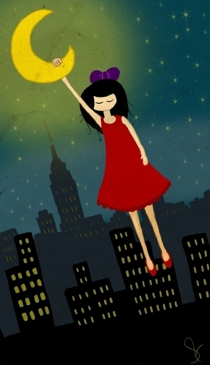 Moon girl - illustration, painting - sahika | ello