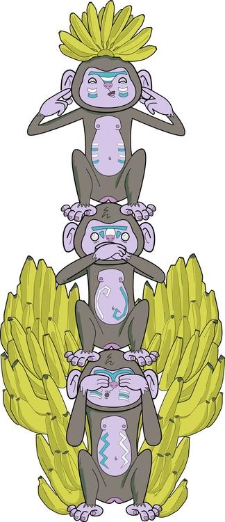 totem monkey - illustration, fashion - iro-6033 | ello