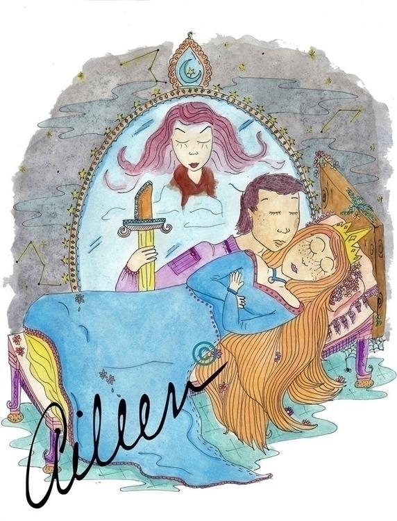 La Bella Durmiente - watercolor - aileencopyright | ello