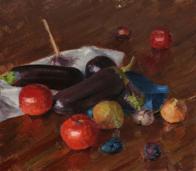 life eggplants 2015, 50x45 cm.  - georgemamchur | ello