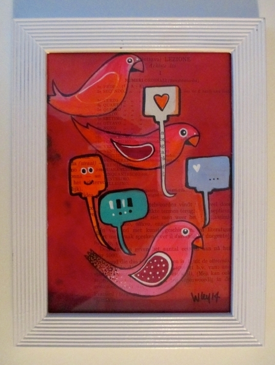 Love Birds - A5 - birds, love, illustration - shethinksincolors-4810 | ello