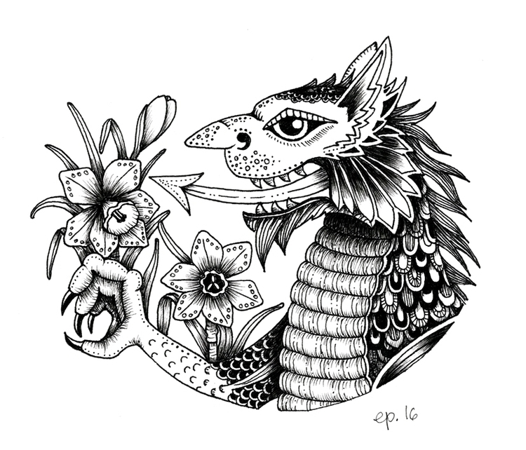 Welsh Dragon daffodils St Day - illustration - ellenparzer | ello