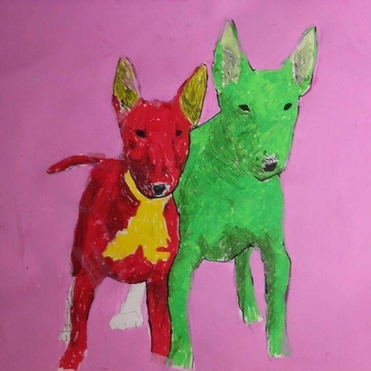 Bull Terrier - bullterrier, painting - kleckerlabor-5193 | ello