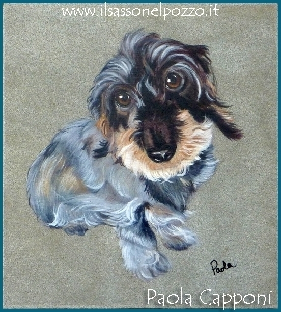 Dog portrait slate - painting, petsportrait - ilsassonelpozzo | ello