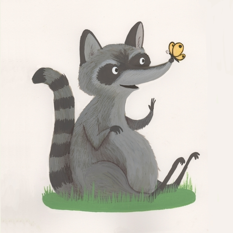 Raccoon - animals, gouache, illustration - beth-6270 | ello