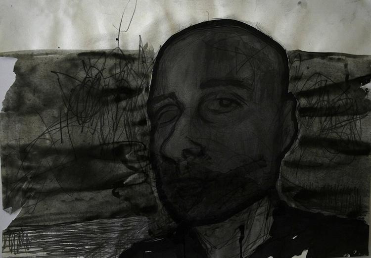 ,,Selfportrait''; mixed media;  - ivanmitic | ello