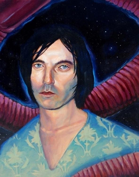 Anton Newcombe portrait - painting - mjg-1158 | ello