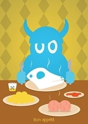 Dinner time. Postcard illustrat - ninna-2879 | ello