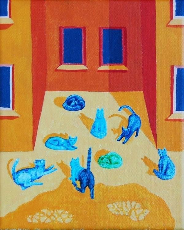 Cats bask sun - illustration, painting - olga_msk | ello