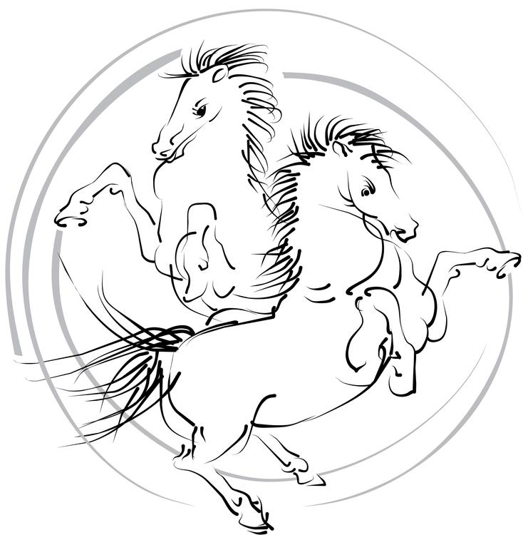 White horses - illustration, vector - hanna-1284 | ello