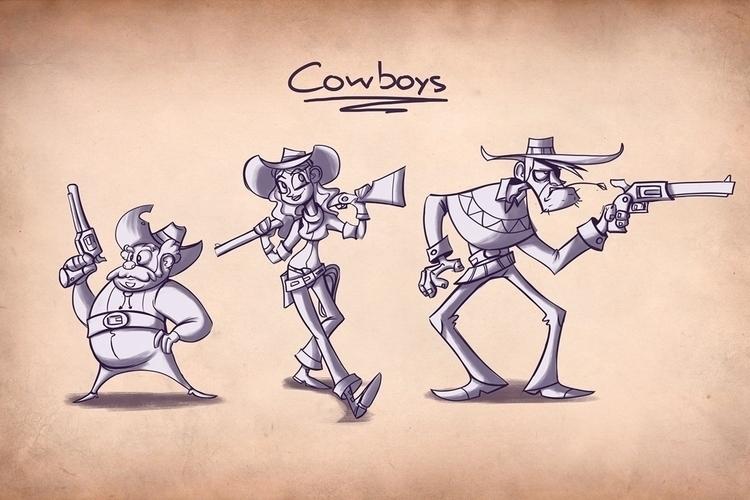 cowboys - illustration, conceptart - michelverdu | ello