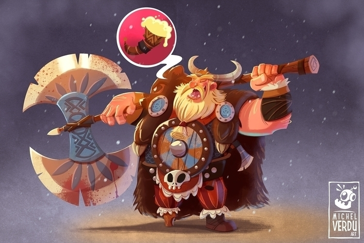 Viking - viking, fighter, cartoon - michelverdu   ello