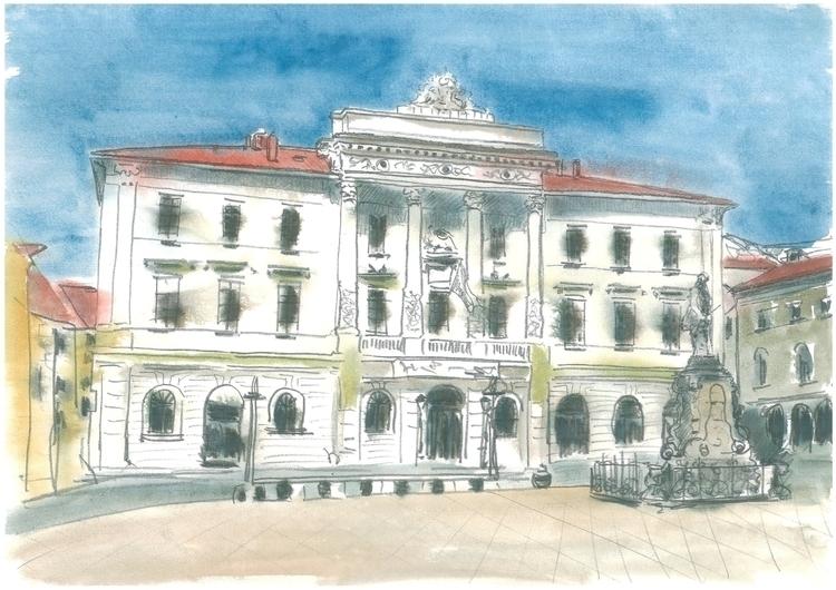 Piran - Municipal Palace - painting - markojezernik | ello