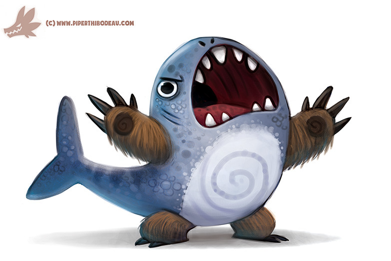 Daily Paint BEAR SHARK - 1114. - piperthibodeau | ello