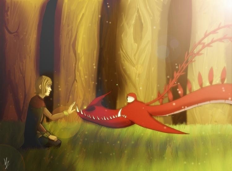 Aaron dragon - illustration, fanart - aleban | ello