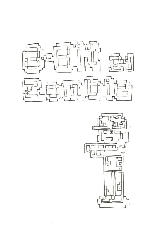 Lineart 21 8 - Bit Zombie - illustration - hotshots2000 | ello