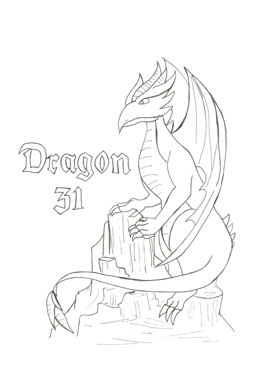 Lineart 31 Dragon - illustration - hotshots2000 | ello