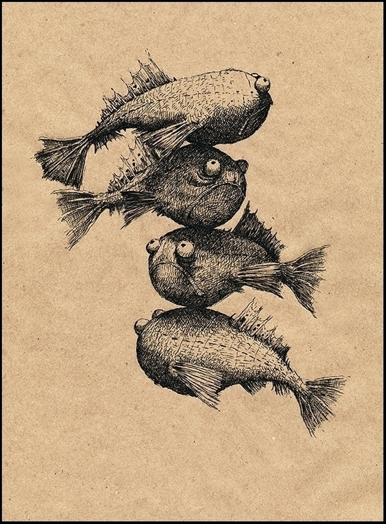 Fishes - art, illustration, drawing - aleksklepnev | ello
