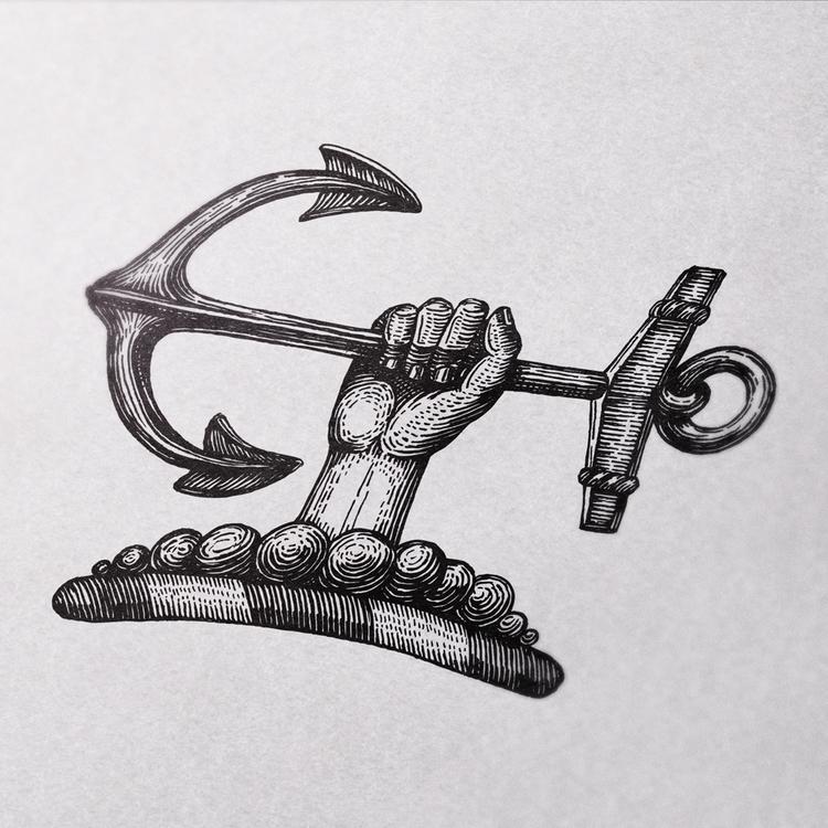 anchor - hand, drawing, graphic - zizilka | ello