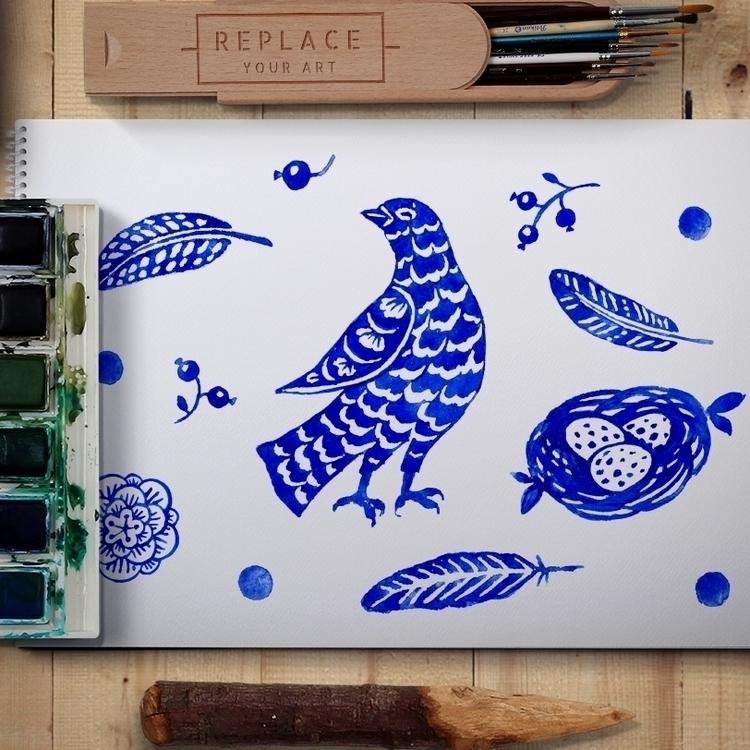 Bird life watercolor - bird, print - zizilka | ello