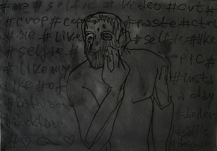,,Selfovanje 16.''; ink paper;  - ivanmitic | ello