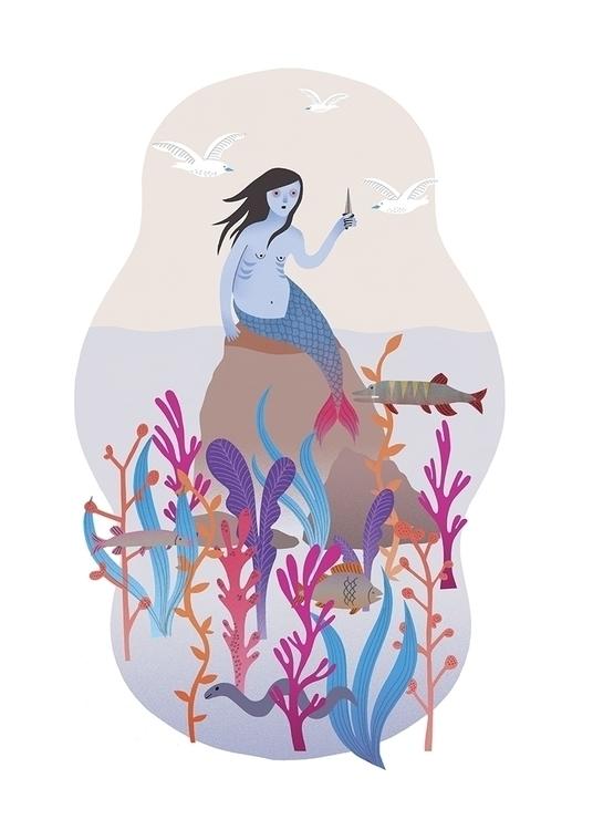 illustration, mermaid, personal - karinsoderquist | ello