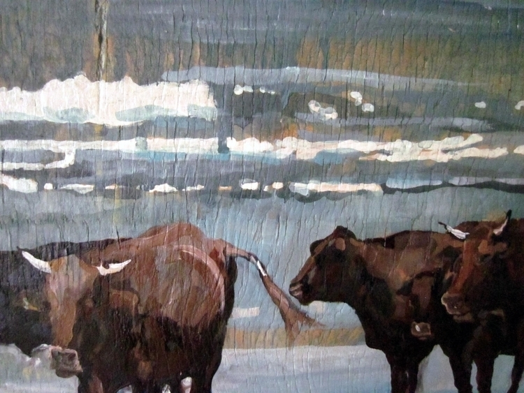 Beach Cattle - Oil Gouache Wood - natalidowning | ello