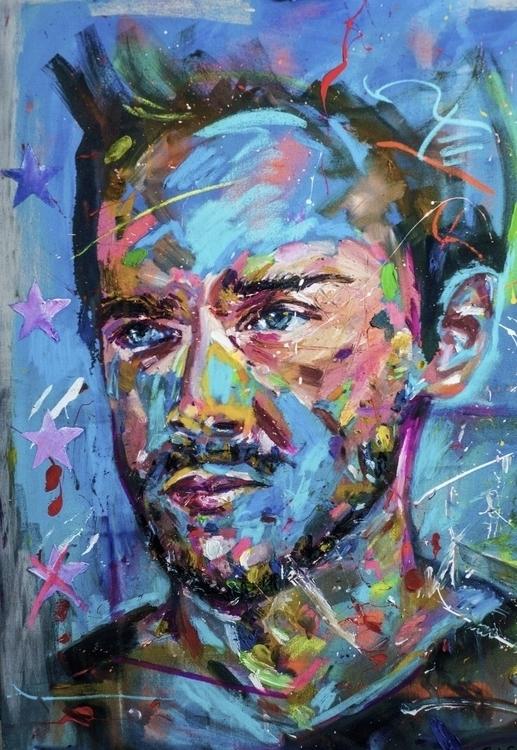'cerulean' mixed media canvas - chrissilver   ello