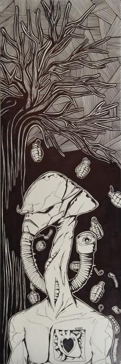 illustration, painting, gasmask - farsa | ello