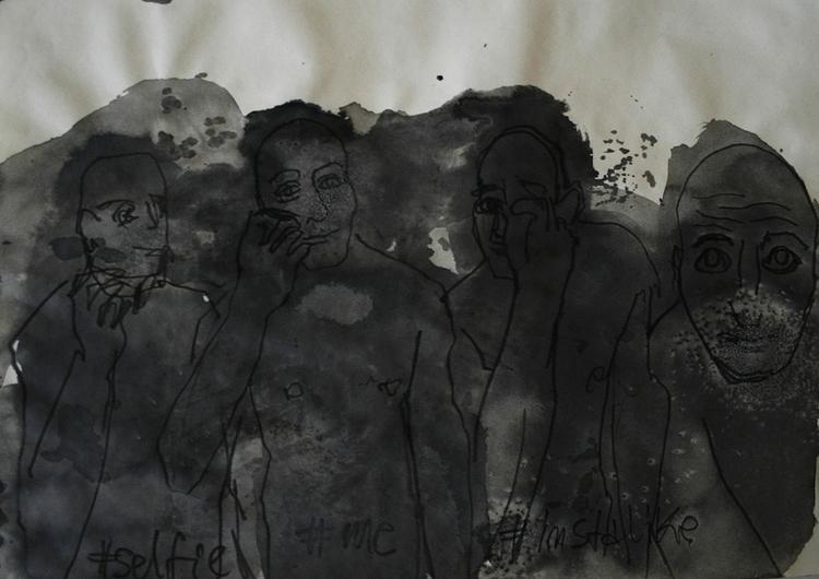 ,,Selfovanje 63.''; ink paper;  - ivanmitic | ello