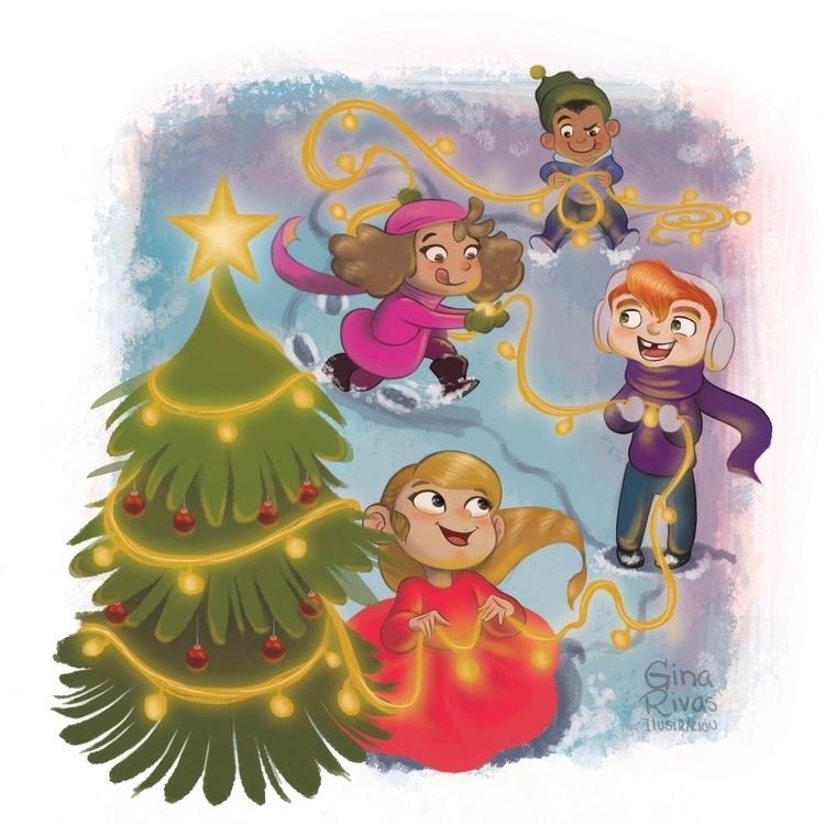 Christmas tree - illustration, drawing - ginarivas | ello