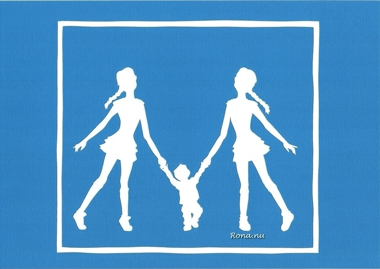 Big Sisters - papercut, baby, illustration - rona-5961 | ello