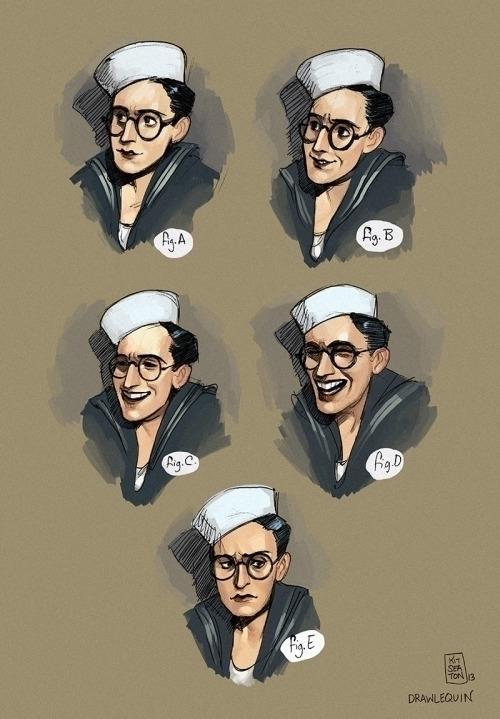 Studies Harold Lloyd film Sailo - drawlequin   ello