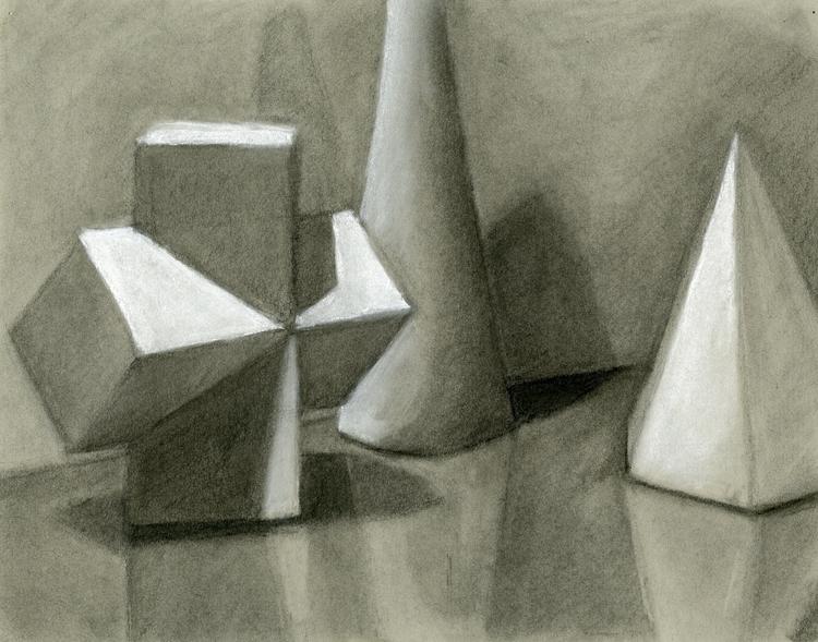 Basic shapes charcoal study - cmarling | ello