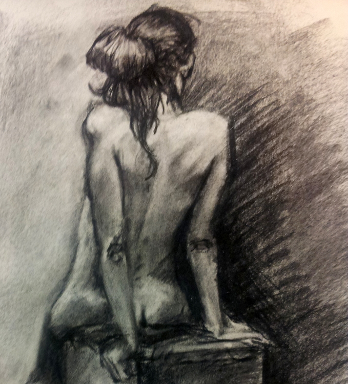 Charcoal figure study - charcoal - cmarling   ello