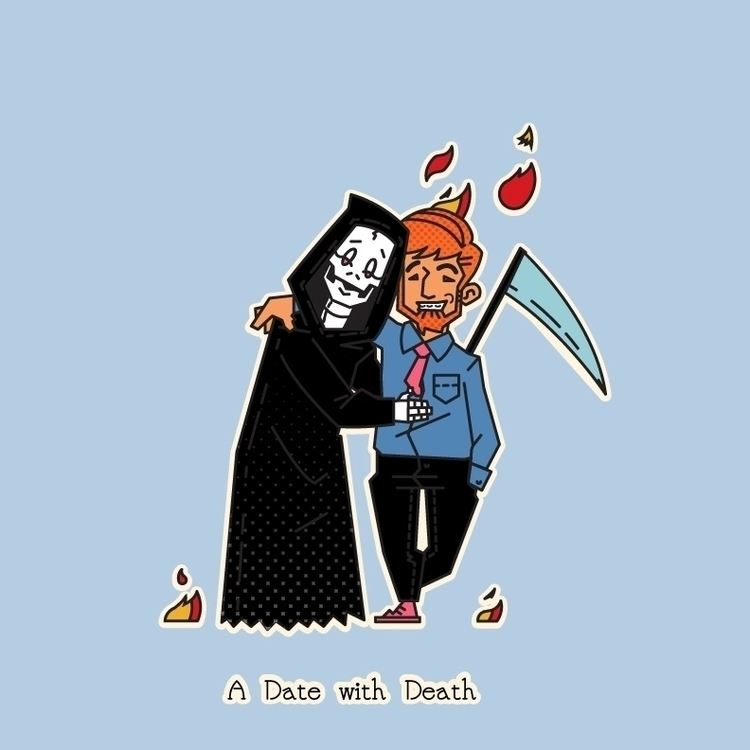 Lovely date Death - illustration - aleshawilliams | ello