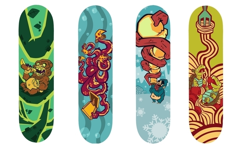 animals Snack Skateboard Line - illustration - aleshawilliams | ello