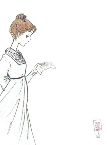 Jane receives letter - illustration - serenedaoud   ello